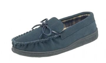 Men's Moccasin with Rubber Sole NAVY BLUE